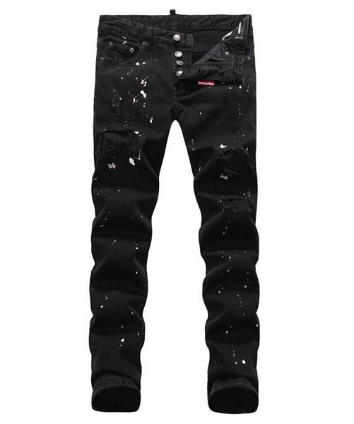 Jeans européens debout, jeans pour hommes, une paire de jeans skinny et crânes brodés noirs # 049
