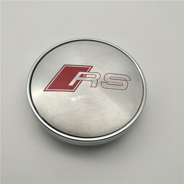 4er Set Radkappen Nabenkappen Emblem mit RS Logo S Line passt für Audi A4 A6 60mm