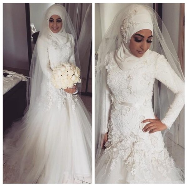 Muslim Wedding Dresses 2018 Lace Appliques Long Sleeves Dubai Arabian Mermaid Bridal Gowns Hijab Vestidos De Novia