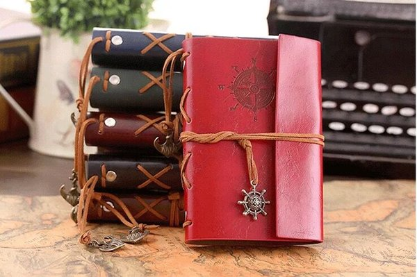18.5*13cm New hot Vintage Leather Travel Journal Notebook Anchor Rudder Decoration Notebook retro medium size diary book notepad