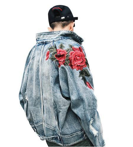 New Men's Clothing Denim Jacket 3D Rose Flower Embroidery Vintage Frayed Hole Coats High Street Hip Hop Outerwear
