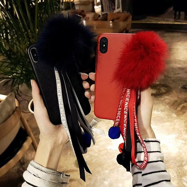 Colorful Tassel Bracelet Fox Fur Ball Soft Leather Back Cover Case Bow Rope Phone Shell Fundas for iPhone X 6s 7 8 Plus