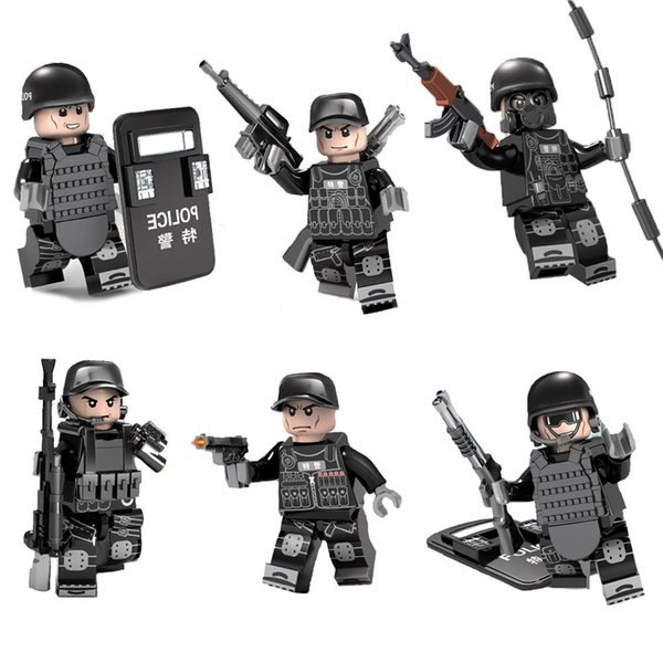 Educational SWAT Special Forces Tactics Assault Commando Policeman Toy Figure MOC Police Building Block Toys for Children