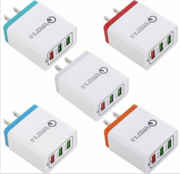 top popular QC 3.0 Fast Wall Charger Quick Charge Adapter 3 USB Port for Iphone IPAD Samsung Huawei Xiaomi 2019