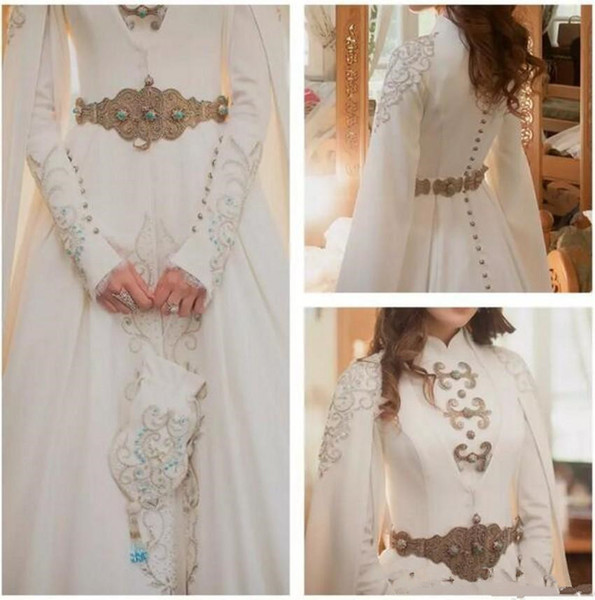 Elegant Kaftan Dubai Arabic Muslim Wedding Dresses 2018 Modest Long Sleeve High Neck Luxury Gold Detail Crystal Hijab Bride Wedding Gown
