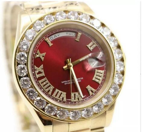 Luxury Brand 18K Gold President Day-Date Geneva Men Diamonds Dial Big Diamond Bezel Automatic Wrist Watch AAA Mens Limited Edition Watches