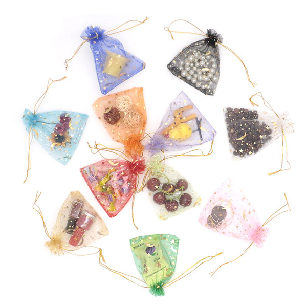 Star Moon Printed Organza Bags Drawstring Colorful Transparent Pouches Fit For Jewelry Packing Wedding Party Candy Dry Flower (Can Custom)