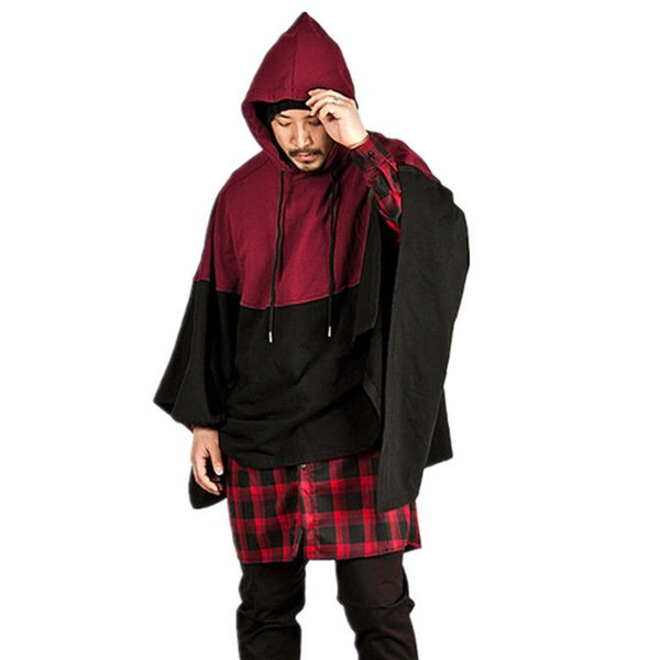 2017 Men's Winter Cotton Hooded Coat Smock Pullovers Cape Cloak Poncho Sweatshrits Hoodie Red Gray Blue