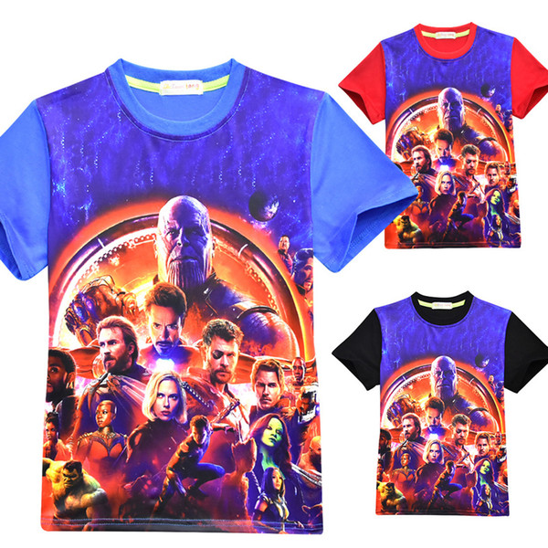 5496bb2d Baby Boys Avengers 3 Infinity War T-shirts New Children Iron Man Thanos Short  sleeve