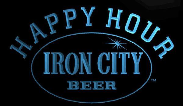 LS1290-b-Iron City Beer Bar Happy Hour 3D LED Luz de Néon Sinal Personalizar a Pedido 8 cores para escolher