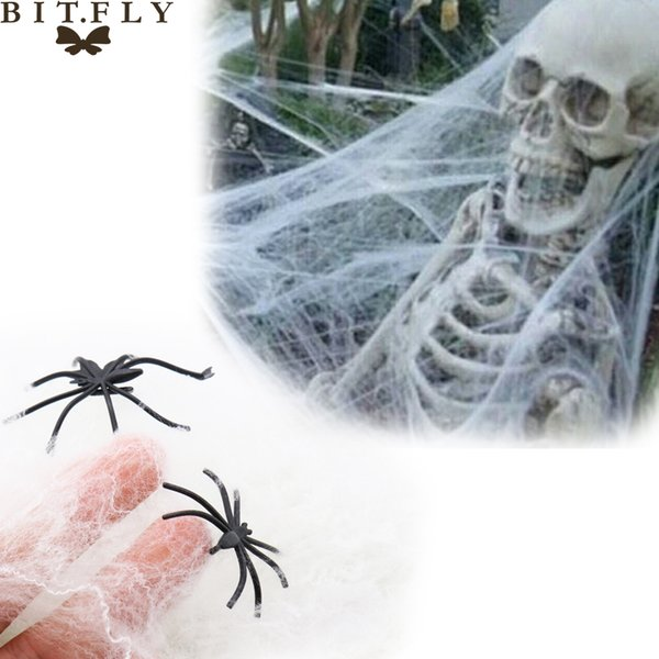 BITFLY 20g Stretchy Spider Web Cobweb With two Spider Haunted House Bar Props for Halloween Party Decoration white black BITFLY 20g Stretchy