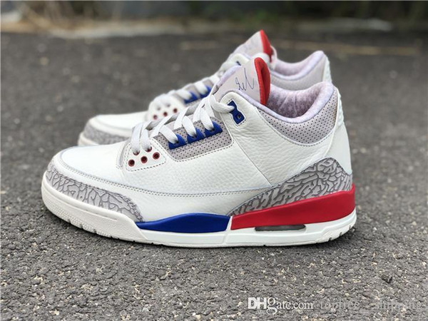 separation shoes 88dc8 1ae7d 2019 018 Hottest Charity Game 3s MJ USA Shoes White Blue Red Comfortable  Basketball Shoes For Men Authentic Quality With Box 40 47 From ...