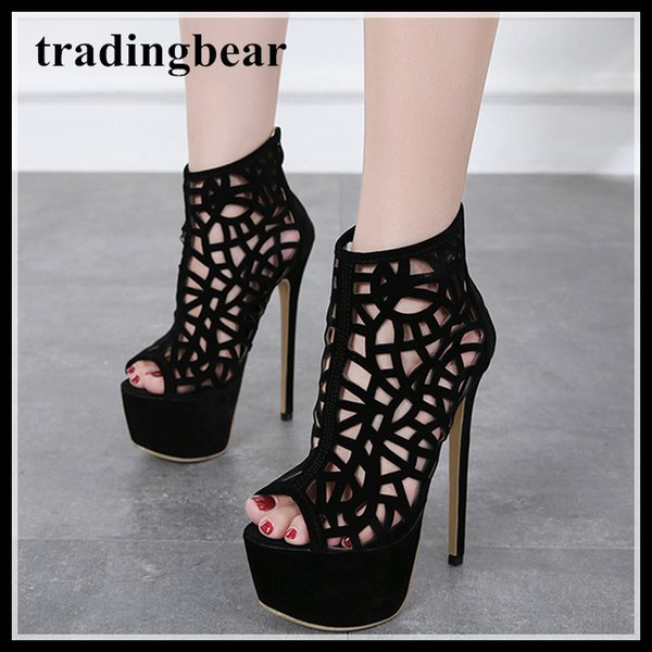 16cm sexy black synthetic suede floral network hollow out platform heels shoes women designer high heel size 35 to 40