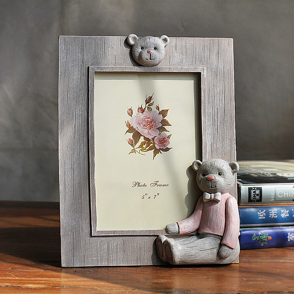 Creative Cute Bear Decor Resin Photo Frames For Children Baby Gift Home Decor Desktop Picture Frame Quality 1pcs Family Frames portaretrato