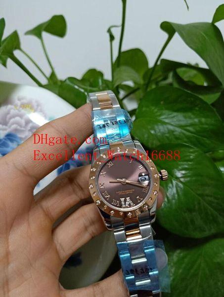 Hot Sell Moda Senhoras relógios 31 mm 178341 279160 279135 Presidente Data apenas 18k Rose Gold Diamond Brown Dial Ásia 2813 Mecânico Automático