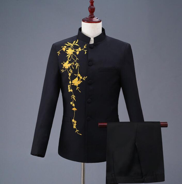 Blazer men formal dress latest coat pant designs marriage suit men Stand collar embroidery trouser wedding suits for men's black