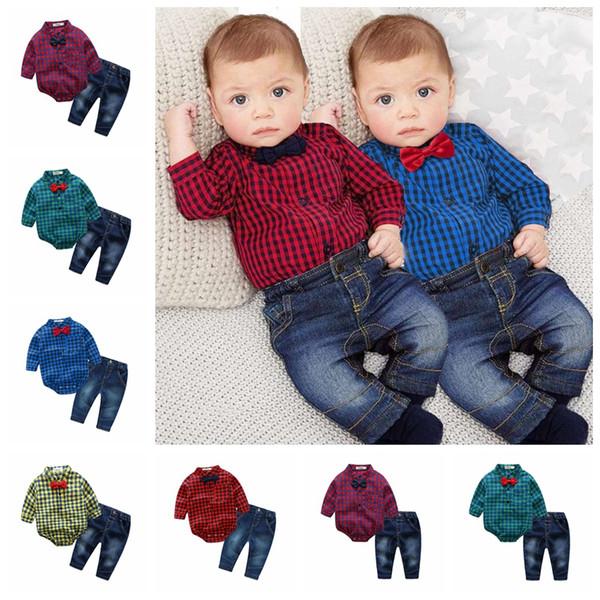 Insetti per neonati Baby Set Gentleman Pagliaccetto a maniche lunghe scozzese Neonato Pagliaccetti Jeans 2Pcs Set jeans Onesies per neonati Boutique Tuta GGA1275