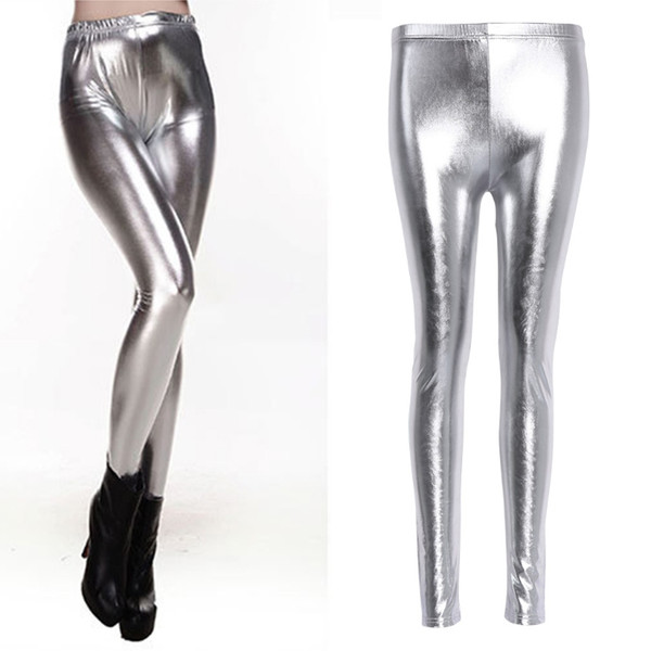 2017 Fashion Women Sexy Shiny Leggings High Waist Faux Leather Pencil Pants Stretch Silver Gold Solid Elastic New Soft Legging