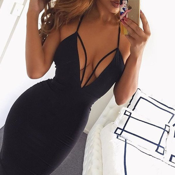 Black Red Sexy Deep V Neck Hollow Out Bodycon Bandage Dress Womens Stretchy Backless Off Shoulder Tight Package Hip Party Dress Casual Dress