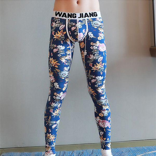 New Thin Foundation Men Winter Thermal Underpants Printed Pants Warm Brand Thermo Underwear Man Long John Underpants M L XL XXL