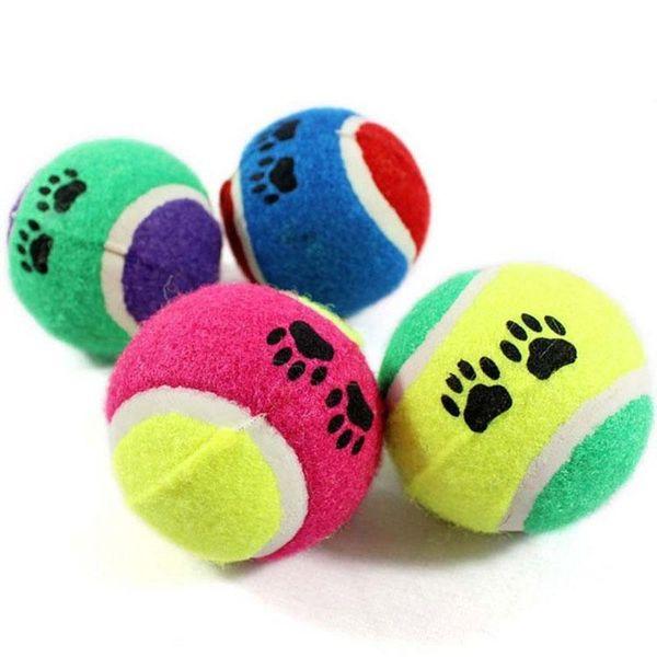 New Pet Toy sfera Toy Dog Palline da tennis Run Fetch tiro Gioca giocattolo da masticare rifornimenti dell'animale domestico del gatto all'ingrosso del cane per i cani Diametro 6,5 centimetri