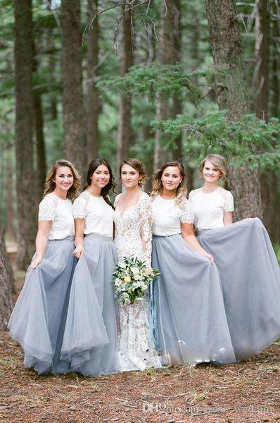 Two Piece Light Grey Bridesmaid Dresses A-Line Jewel Neck Lace Short Sleeve Floor Length Tulle Maid of Honor Dress Custom Robes de Soirée