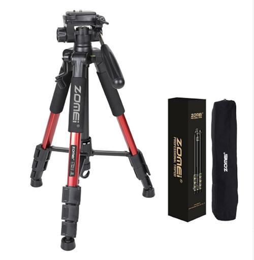 Trépied de voyage professionnel en aluminium pour appareil photo et support numérique pour appareil photo reflex numérique plat en direct Canon pour appareil photo trépied pour appareil photo six couleurs