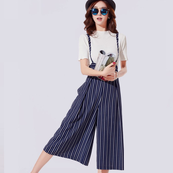 2018 new Korean style Wide leg pants spring and summer ladies high waist strap chiffon seven points striped strap suit culottes
