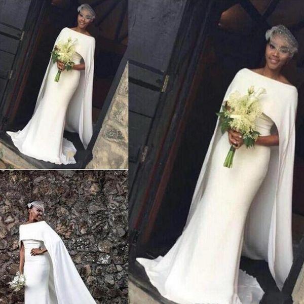Elegante weiße Kappe Stil Abendkleider 2018 Frühling Sommer Mermaid Sweep Zug Prom Kleider südafrikanischen Frauen Vestidos Günstige Kleid