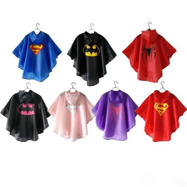 DHL free shipping 7 styles New Kids Rain Coat children Raincoat Rainwear/Rainsuit,Kids Waterproof Superhero Raincoat