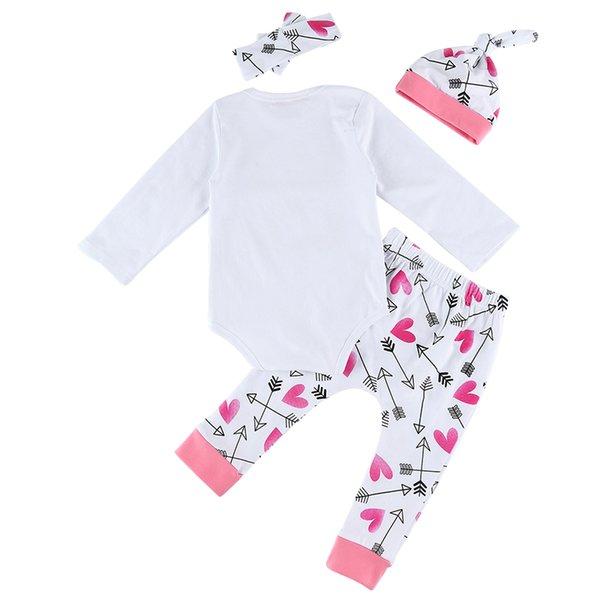 4 unids bebé recién nacido niña carta impresión mameluco conjunto manga  larga Pullover Top + pantalones de flecha + sombrero diadema ropa de bebé eeb5a0df593