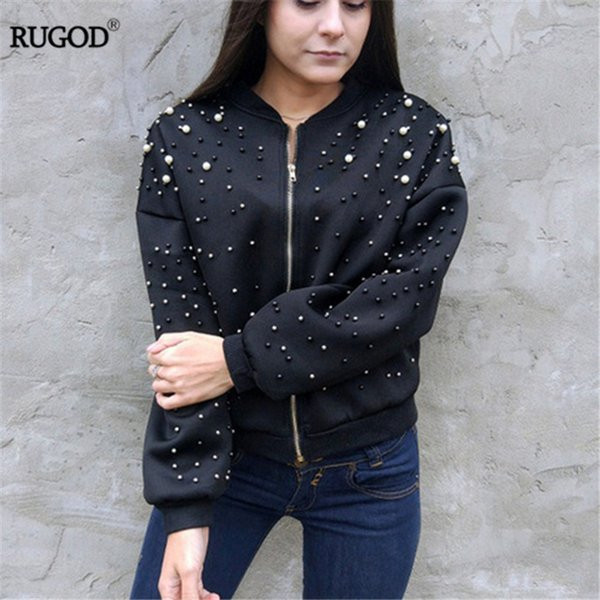 RUGOD New Hot Diamond Beading Bomber Jacket Women 2018 Spring Casual Loose Zipper Long Sleeve Baseball Jacket Casaco Feminino