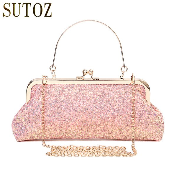 Fashion Women's Bling Sequins Bags Small Evening Clutch Bag Lady Glitter Handbags Pink Sequins Bag Long Purse for Banquet BA668