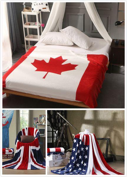 Флаг Канады США ВЕЛИКОБРИТАНИЯ Многофункциональный Одеяло Диван Покрытие Одной Простыни Броски Британский Американский Флаг Плед Флис Фланелевые Покрывала