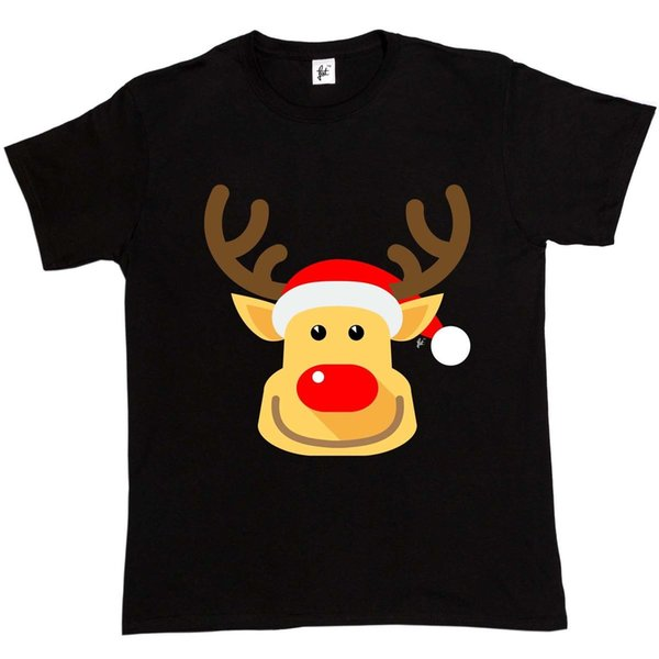 Cheeky Smile Rudolph Red Nose Reindeer Mens T-Shirt