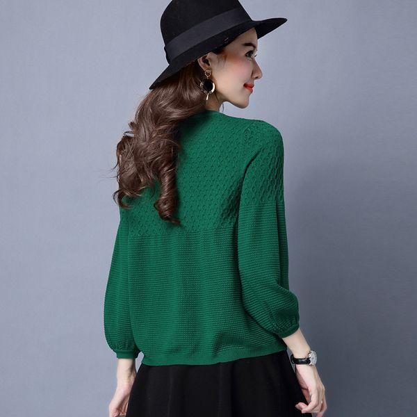 Hchenli 2018 Mujeres Verde Gris Rojo Caqui Naranja Manga Larga Cardigan Suéter Top 2018 Mujeres Oficina Elegante Blusa