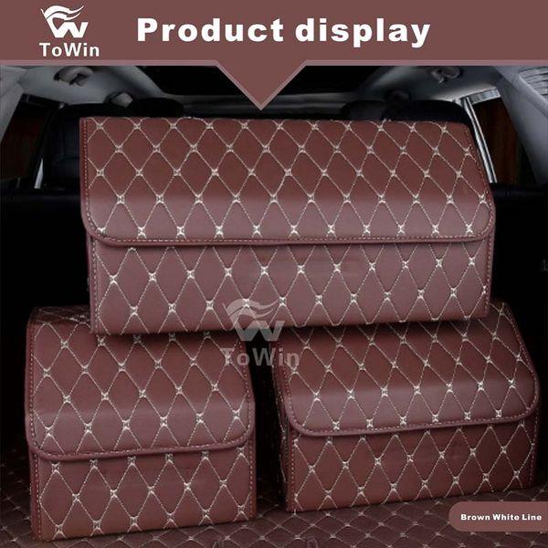 New Organizer Folding Car Trunk Storage Bag,Auto Truck Storage Box Car SUV Tidy Storage Box Bag,Leather,Good quality