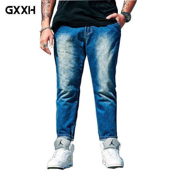 2018 Flut Marke große Größe 8XL Herrenbekleidung plus Dünger blau neun Punkte Jeans Sommer weiße Jeans Taille elastische Freizeithosen