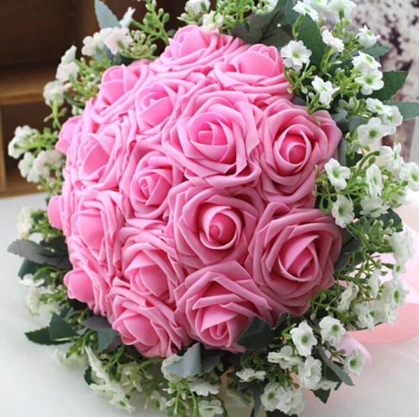 Acheter Fabuleux Bouquets De Mariage Rose Et Blanc Rose Artificielle 2018 Demoiselle Dhonneur De Mariée Fleurs Avec Ruban Buque De Noiva Pour Les
