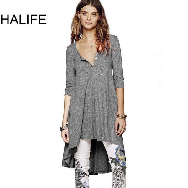 HALIFE Punk Rock Long Tunic Tops For Women T-shirt 3/4 Sleeve High Low Asymmetrical Plus Size Tee Shirt Femme Poleras Mujer S10 S18100901