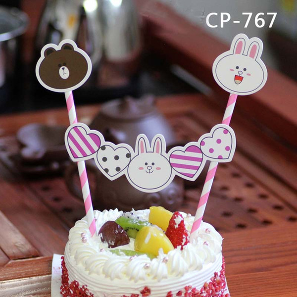 cartoon cupcake toppers for kids bear monkey angel birthday party decoration cake picks cases kids baby shower horse candy bar DHL