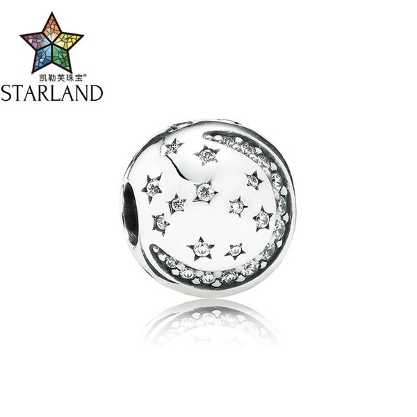 Starland Charm 925 Sterling Silver Lock Stopper Charm  Clip Star Moon With Paved Clear Zirconia DIY Women Jewelry Gift