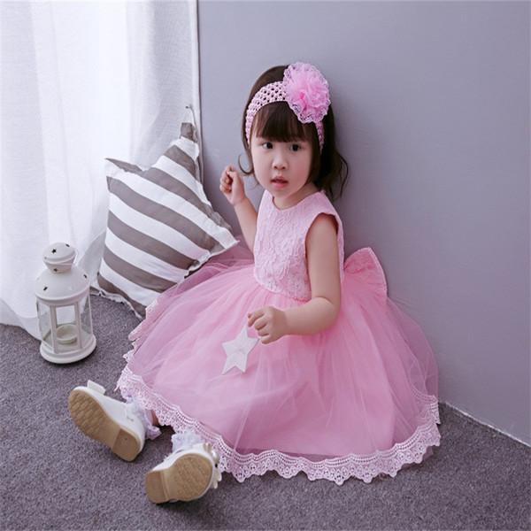 Küçük Kız için Dropshipping Giysileri Pembe Elbise Kız Parti Elbise için 3-24 M ile Bebek Düğün Şapkalar