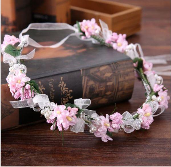 bridal garlands, bridal headwear, pink wreath corolla, bridal accessories, modeling accessories, emulation flower band