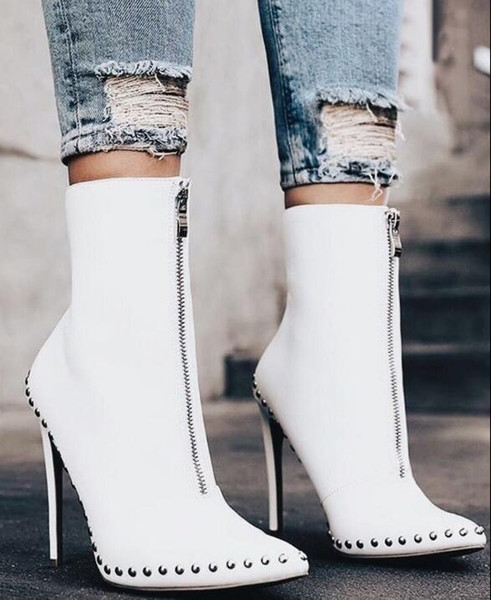Spring&Autumn New Design Rivet Women Boots Sexy Pointed Toe High Boots Fashion High Heel Ankle Boots Ladies Pumps Motorcycle Bootas black wh
