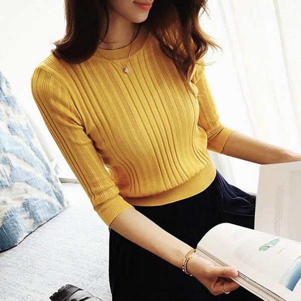 The new 2018 half sleeve cotton Crewneck sweater female sleeve head sleeve shirt five solid tight sweater thin repair