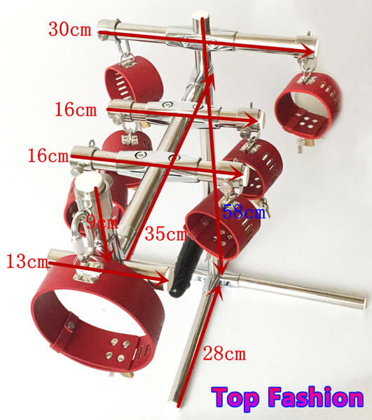 Hot sale!!!Stainless Steel Rod Portable SM Bondage Dog training device with leather anklet cuffs collar and dildo harness sex furniture