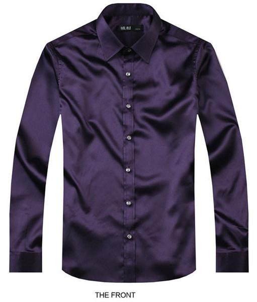 2017 Dark purple Luxury the groom shirt male long sleeve wedding shirt men's party Artificial silk dress M-3XL 21 colors F
