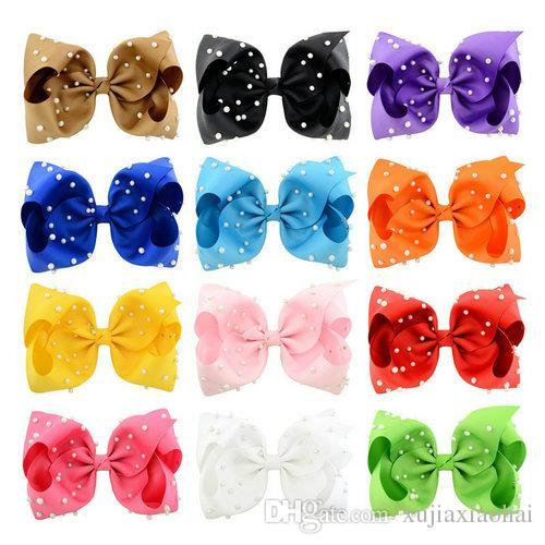 Hot sale 12 Colors JOJO Bow style 8 inch Ribbed ribbon Big Bowknot with Pearl Girl Barrette Beautiful Hair Ornament headwear