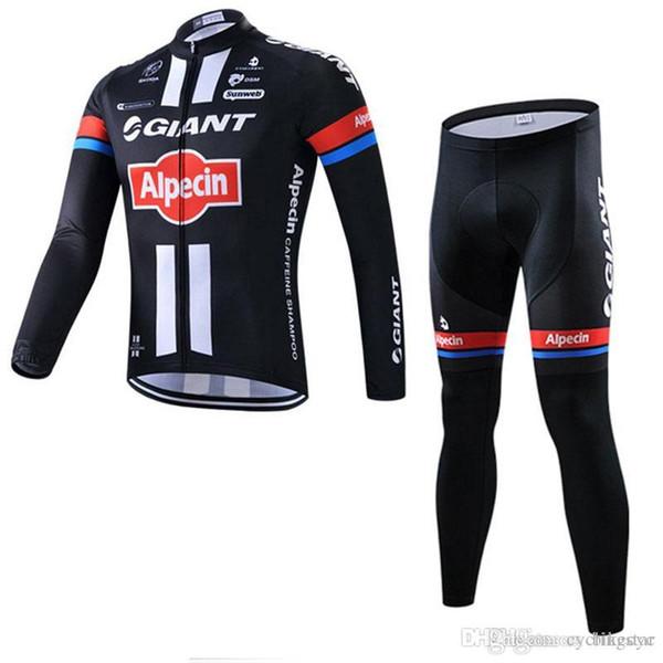GIANT Team Radfahren Langarm Trikot (Trägerhose) setzt Männer dünne Ropa Ciclismo schnell trocknende MTB-Fahrradkleidung C1402